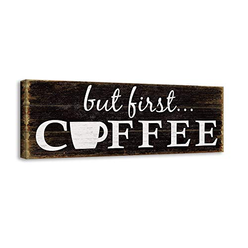 Kas Home Inspirational Quotes Motto Canvas Wall Art,Coffee Prints Signs Framed,Retro Artwork Decoration for Bedroom,Living Room,Office & Home Wall Decor (6 x 16 inch, COFFEE)