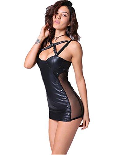 Boowhol Lackleder Kleid Rock sexy Dessous Minikleid Clubwear rückenfrei Club Anzug Enge Kleidung Party-Kleidung (M)