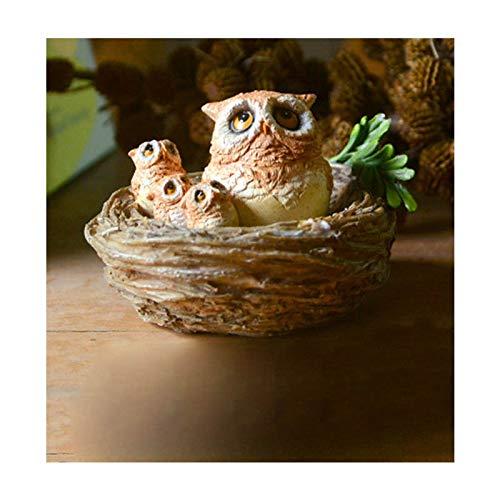 XKMY Figuras creativas de resina de pájaro lindo búho animal bonsái hada adorno de jardín accesorios miniatura regalo decoración del hogar moderno (color: búho en el nido)
