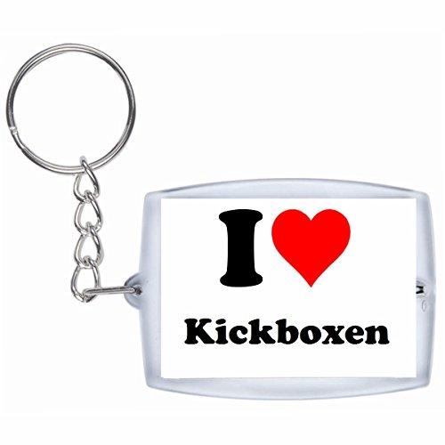 Druckerlebnis24 Schlüsselanhänger I Love Kickboxen in Weiss, eine tolle Geschenkidee die von Herzen kommt| Geschenktipp: Weihnachten Jahrestag Geburtstag Lieblingsmensch