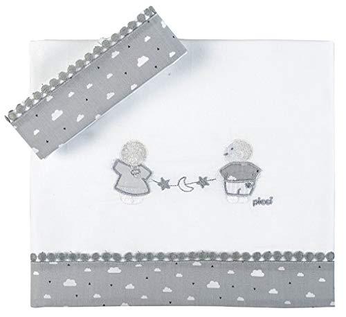 Draps Berceau Picci Lollipop Set 3 pièces brodé Cod.pc617122 var 22 Blanc Gris
