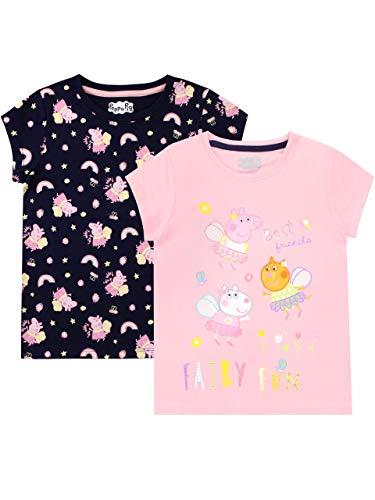 Peppa Pig Camiseta de Manga Corta Paquete de 2 para niñas Multicolor 3-4 Años