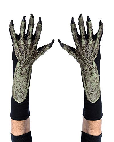 Zagone Witch Gloves, Green Latex Hands, Black Cotton Gloves