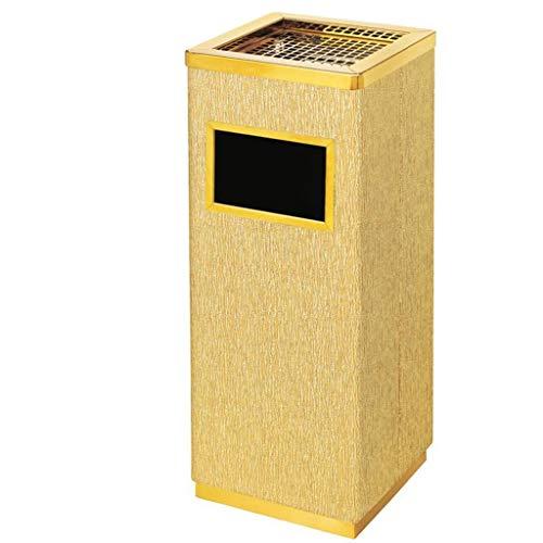 WJQSD Mülleimer Edelstahl Mülleimer Eimer mit Aschenbecher Einkaufszentrum mit Mülleimer Asche Mülleimer Mülleimer große Mülltonne im Freien Gold, 240 * 240 * 635 mm Hotel, Haus, Büro