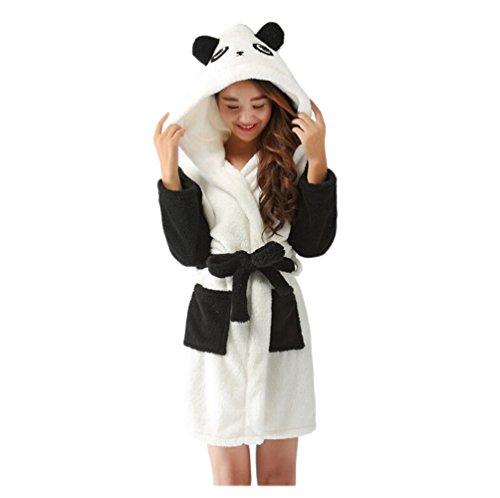CuteOn Unisex Ehepaar Damen Herren Karikatur Tier Coral Fleece Mit Kapuze Wickeln Morgenmantel Nachtwäsche Bademantel Cosplay Panda Medium