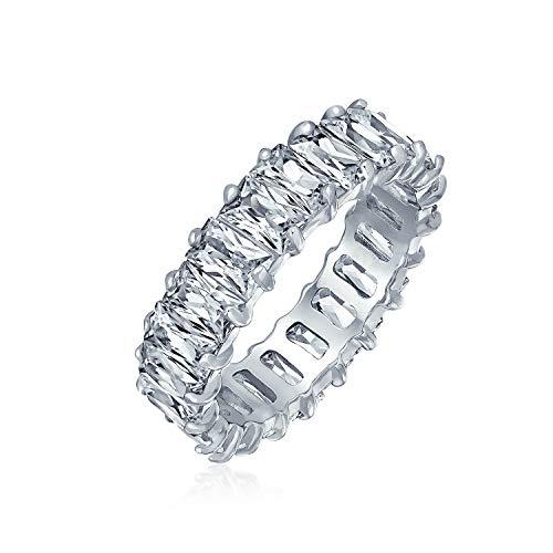 Art Déco-Stil AAA CZ Ewigkeit Baguette Jahrestag Hochzeit Ewigkeitsring Cubic Zirkonia Verlobungsring Sterling Silber