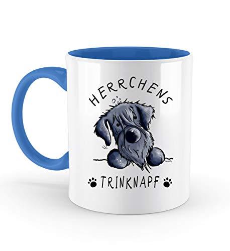 Herrchens Trinknapf Schnauzer Tasse Kaffeetasse Riesenschnauzer Mittelschnauzer Geschenk - Zweifarbige Tasse -330ml-Blau