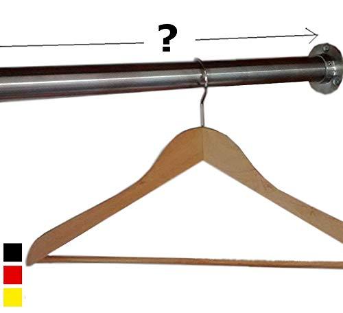 Livindo Edelstahl Kleiderstange Wunsch-Maß Schrankrohr 33,7 mm Komplett-Set Garderobe Kleiderschrank Nische 10-100 cm