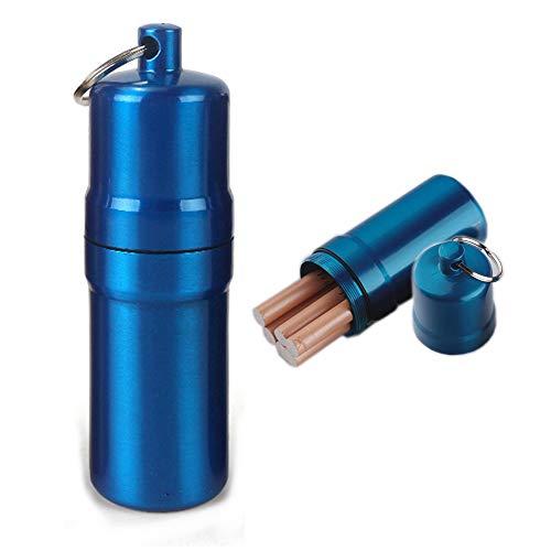 NGEシガレットケース 10本 携帯灰皿 おしゃれ 防水 キーホルダー 合金 アウトドア 耐湿防圧 (ブルー)