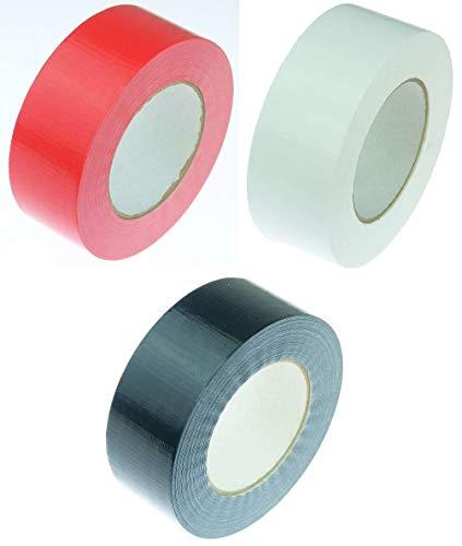 3 Rollen Klebeband Gewebeband 50 m x 48 mm je 1x Schwarz + Weiss + Rot - Panzerband Steinband Gaffa Tape Reparaturband (Rot + Schwarz + Weiss, 3 Rollen 3 Farben)