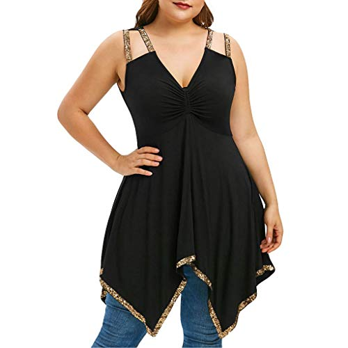 Affordable Women Irregular Tunic Tops - Plus Size Sequin Strap V Neck Peplum T Shirt - Elegant Slim ...