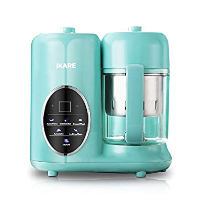 Baby Food Maker - IKARE Self Clean Baby Food Processor Blender Grinder Steamer with Detachable Water Tank and 304 Stainless Steel Steam Basket - Touch Control Panel -Cooks Baby Food in 15 Minutes
