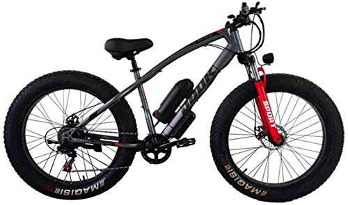 Electric Bikes, Electric Bicycle Lithium Battery Fat Tires Instead of Mountain Bike Adult Wide Tires Boost Cross-Country Snow,E-Bike (Color : Gray)