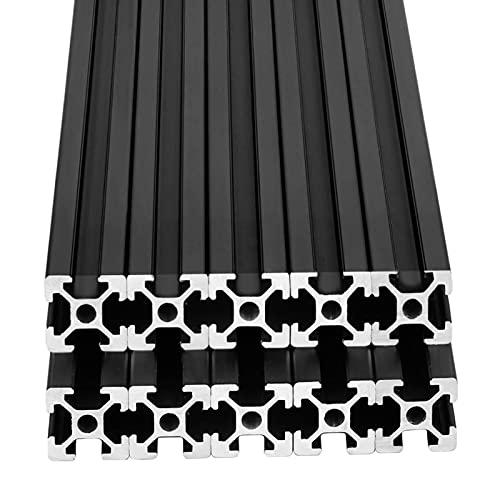 10pcs 48inch T Slot 2020 Aluminum Extrusion European Standard Anodized Linear Rail for 3D Printer Parts and CNC DIY 1220mm Black(48inch)