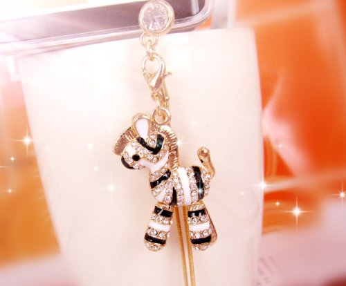CJB Dust Plug/Earphone Jack Accessory Zebra Long Chain for iPhone 4/5 All Device with 3.5mm Jack