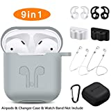 AirPods Case, Rockindeer 9 in 1 AirPods Accessories Set Protective Silicone Cover Skin Compatible Apple AirPods Charging Case with Watch Band Holder/Ear Hook/Keychain/Strap/Carrying Box (Gray)