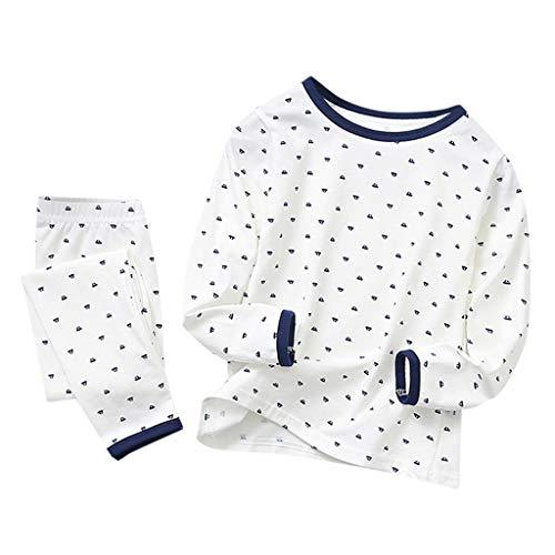 Enfants Petits Garçons Filles Coton Vêtements De Nuit Tenues 2Pcs Pyjamas Ensemble Homewear 2-8 Ans(Blanc,4-5Années)