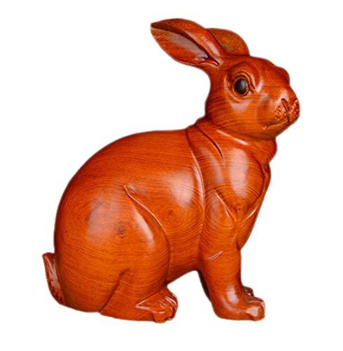 YGB Nueva decoración de Escultura, Modelo de Madera Maciza Estatua de simulación Animal Caoba Arte Tallado a Mano, 18 cm