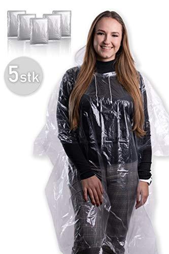 5X wasserdichter Regenponcho mit Kapuze und Kordelzug für Damen und Herren/Regencape/Regenmantel/Regenjacke [ Notfallponcho mit 100% Regenschutz durch 0.35mm Dickes PE ]