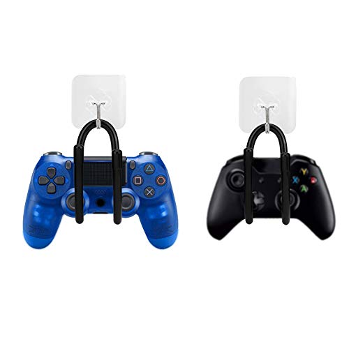 Eboxer 2 pcs Organizador de Controlador de Juego Ajustable,Estante de Pared Clip de Pared para Gamepad, Xbox, Play Station, Wii, Auriculares y PS4, Gancho de Pared Adhesivo + Suspensión