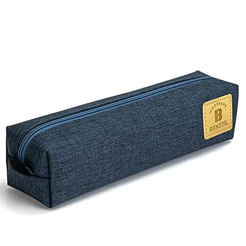 MRBJC Estuche para bolígrafos, gran capacidad para lápices, lona, bolsa de maquillaje, bolsa de papelería duradera, soporte para bolígrafos para hombre y mujer, color azul 19,5 x 5 cm x 5 cm