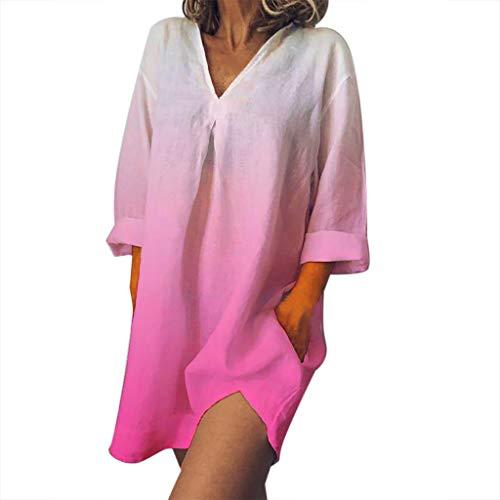 OIKAY Damen Leinenkleid für den Sommer V-Ausschnitt Casual Kleid im Boho Look Plus Size V-Ausschnitt Easy Print Dye Gradient Baumwolle und Leinen Kleid