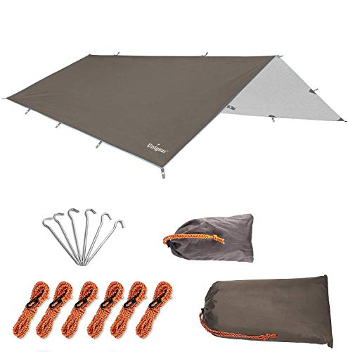 Unigear Bâche Anti-Pluie, Tarp Rain Fly Toile de Tente Imperméable Abri de Randonnée Pliable Léger Imperméable à l'eau pour Le Camping et la Protection Contre la Pluie, la Neige et Le Soleil