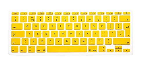 English Keyboard Cover Protector for MacBook Air 11' 11.6 Inch English Euro Keyboard Cover Silicone Skin for Mac A1370 A1465-Yellow