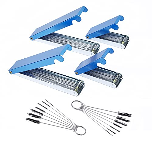 """4Packs 3"""" and 5"""" Tip Cleaner for Welding Cutting Torch Nozzles and Gas Orifice, Carburetor Carbon Cleaner with 2Packs Nylon Brushes for ATV Motorcycle Chainsaw Engine Carb, Spray Guns, Shower Heads"""