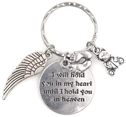 I Will Hold You in My Heart Until I Hold You in Heaven Angel Wing Bereavement Memorial Sympathy Loss of Loved One for Parents, Mom and Dad Baby Feet Teddy Bear Miscarriage Keychain 114W