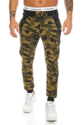 Raff &Taff Sweatpants im Camouflage Style inkl. Hosenträger Tarnhose Armyhose Hose Baggy Freizeithose Joggpants Sporthose Loose Fitness Jogginghose Pants 1118 Herren (L, Woodland Camo)