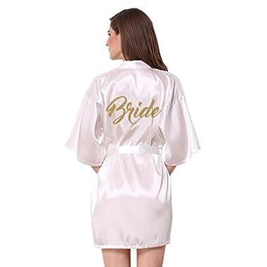 JOYTTON Women's Wedding Party White Satin Kimono Robe With Gold Glitter Bride M