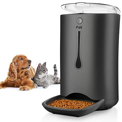 PUPPY KITTY 6.5L Alimentatore Distributore Automatico di Cibo per Cani Gatti Animali Domestici Display LCD, di Controllo Registrazione Vocale Timer Programmabile Fino a 4 pasti al Giorno Nero