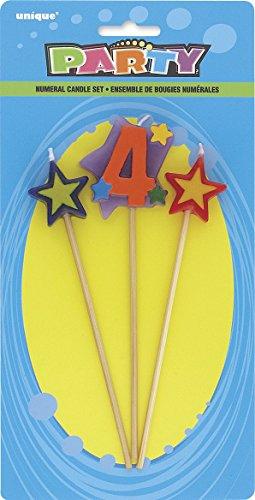 Unique Party 34044 - Velas de Cumpleaños con Forma de Estrella - Número 4 - Conjunto de 3