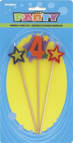 Unique Party 34044 - Number 4 Star Birthday Candles Set of 3