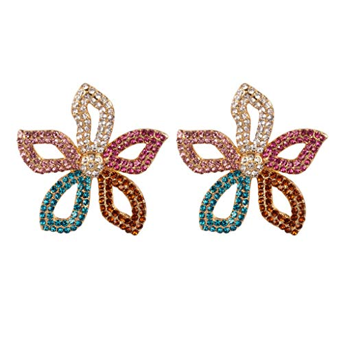 LABIUO Mode Kristall Strass Trend Ohrringe Vintage Minimalistische Kristallohrringe Blumenbesatz(Mehrfarbig,Freie Größe)