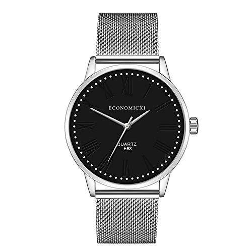 Hombres Elegante Reloj de Acero del Acoplamiento Pulsera de la Correa del Abrigo de Cuarzo Reloj de Pulsera de los números Romanos Puntos Blancos comerciales Seguir E63 (Size : Black)