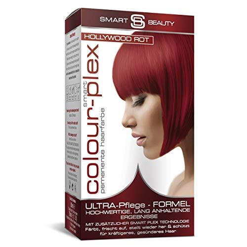 Smart Beauty Hollywood Rot permanente Haarfarbe in Salonqualität ohne PPD   100% vegane Rezeptur, ohne Tierversuche   Mit Smart Plex Anti-Haarbruch-Technologie für Schutz und Kräftigung des Haares