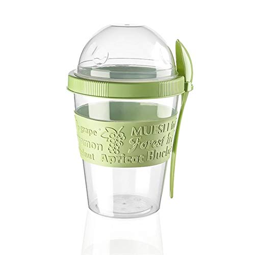 Yogurt Container, Snack Container, Parfait Cups with lids Reusable, BPA-Free, Leak-Proof, Suitable For Hot and Cold Beverages and Foods Green