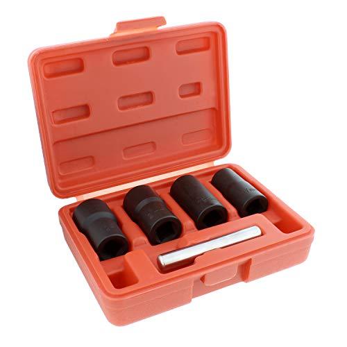 ABN Twist Socket Set Lug Nut Remover Extractor Tool - 5 Piece Metric Bolt and Lug Nut Extractor Socket Tools