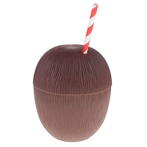 TJYEDUW 1 taza de bebidas tropicales con forma de piña y coco, para fiestas de verano, con suministros de fiesta de paja (capacidad: 500 ml, color: 2)