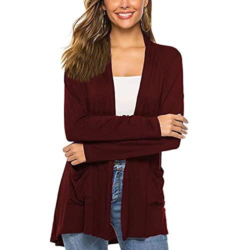 KILUS Cárdigans sueltos casuales para mujer, de gran tamaño, de punto, de color sólido, de manga larga, ligera, con bolsillos para otoño, rojo vino, S