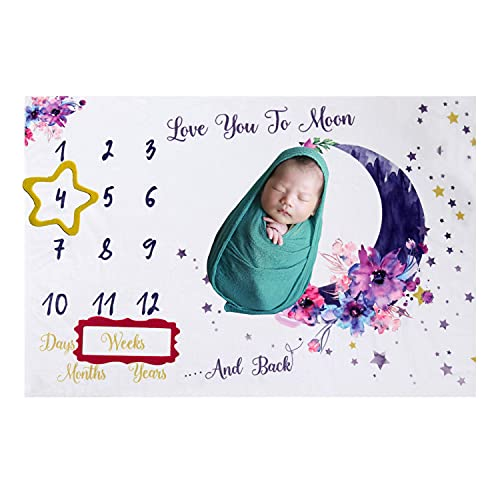 Homvik Manta de Fotografía para Bebé Mantas de Hito para Bebés Recién Nacidos Manta Franela Bebé Unisex Bebés Recién Nacidos y Padres