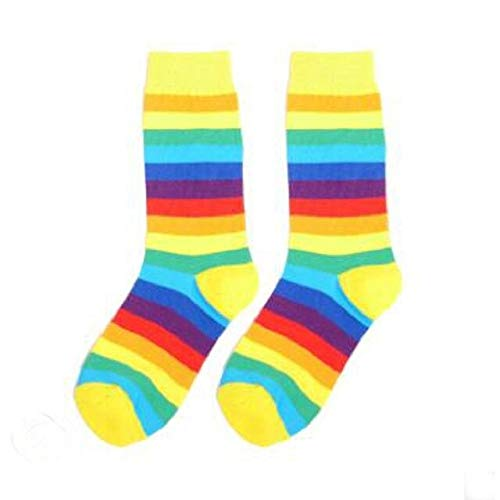 14 PCS = 7 Pares de Calcetines de otoño para Mujer con arcoírisyCalcetines deTubo a Rayas deInvierno paraMujer-a2
