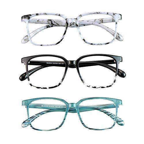 Blue Light Blocking Glasses 3 Pack Square Frame Computer Gaming Reading Glasses Men Women Anti Eyestrain & Glare UV Filter(Marble+Black White+Slateblue)