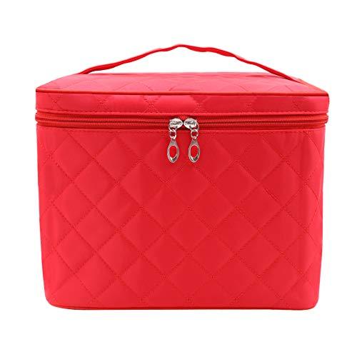Bolsa de maquillaje grande, bolsa de cosméticos portátil con asa con cremallera, impermeable, organizador de maquillaje, bolsa de viaje para mujeres y niñas, rojo carmesí, L,