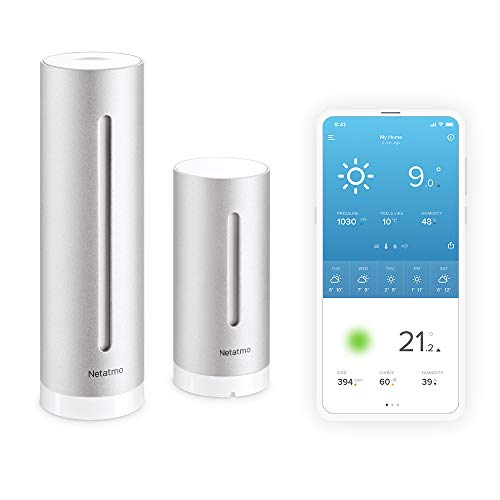 Netatmo Estación Meteorológica Inalámbrica Interior Exterior Con Wifi, Compatible con Amazon Alexa y Apple HomeKit, NWS01-EC