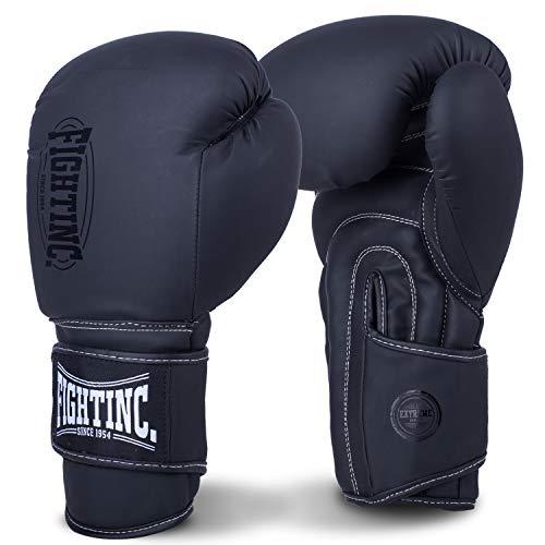 Fightinc. Muay Thai Boxhandschuhe Shadow - 10 12 14 16oz ideal für Thaiboxen K1 MMA Kampfsport matt schwarz (001) 14 Oz