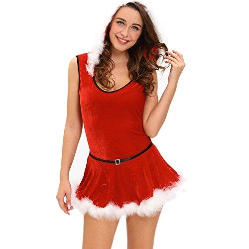 Costumi di Santa delle donne vestiti senza maniche con cappuccio Costume di prestazione di Natale di colore rosso 4 dimensione