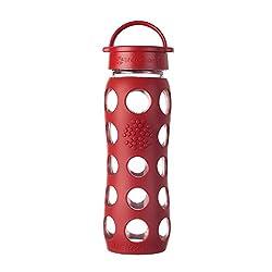 die rote Glastrinkflasche